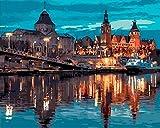 Escena nocturna de la ciudad estilo de Praga Diy pintura al óleo digital lienzo pintado a mano decoración del hogar arte de la pared