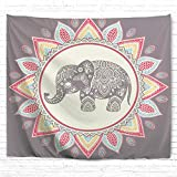 IcosaMro Elephant Tapestry Wall Hanging, Blue Bohemian Boho Psychedelic Hippie Wall Art [Hemmed Edges] Home Decor for Bedroom, Dorm, College, Living Room, 51x60 Inch, Pink