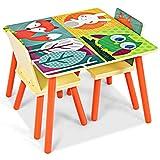 Giantex 3 TLG. Kindersitzgruppe, Kindertisch mit 2 Stühlen Sitzgruppe mit Tiermustern für Kinder, Kindermöbel Set aus Holz Maltisch