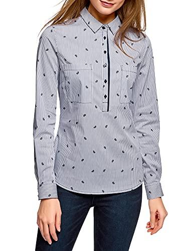oodji Ultra Mujer Camisa Entallada con Bolsillos en el Pecho, Blanco, ES 38 / S