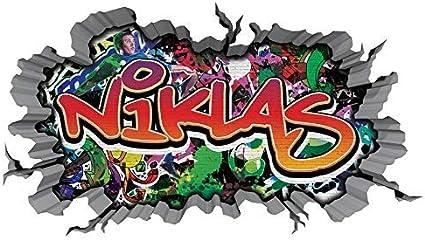 3d Wandtattoo Graffiti Wand Aufkleber Name Niklas Wanddurchbruch Sticker Selbstklebend Wandbild Wandsticker Jungenddeko Kinderzimmer 11u052 Wandbild Grosse F Ca 140cmx82cm Amazon De Kuche Haushalt