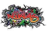 3D Wandtattoo Graffiti Wand Aufkleber Name NIKLAS Wanddurchbruch sticker selbstklebend Wandbild Wandsticker Jungenddeko Kinderzimmer 11U052, Wandbild Größe F:ca. 140cmx82cm