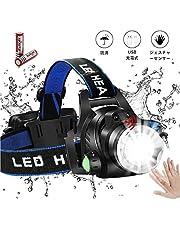 LEDヘッドライト ヘッドランプ USB充電式 IPX5防水 センサー機能付き 超高輝度明るい1000ルーメン 90°調整可能 軽量 釣りズーム可能な作業灯、キャンプ、ハイキング 防災 登山 作業用 (蓄電池 2本付属)