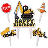 Construction Truck Cake Topper Happy Birthday Vehicle Theme Decor Picks for Baby Shower Birthday Acrylic Party Decorations Supplies 5PCS