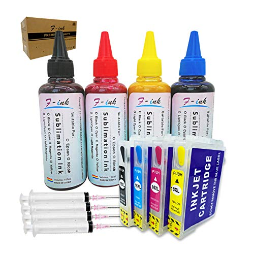 400 ml Sublimationstinte Set kompatibel mit 16 oder 16XL Tintenpatronen, Wärmeübertragungstinte für Tassen, Teller, Polyester-Shirts, Handyhüllen usw.