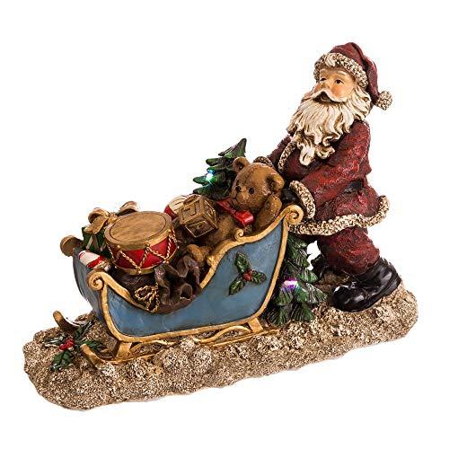 Papá Noel en Trineo de Resina Azul y Rojo de 27x10x19 cm - LOLAhome