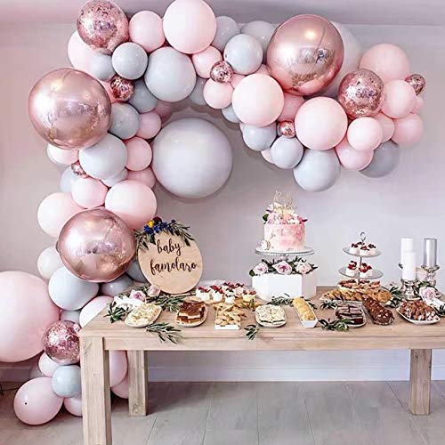 Longwu 167 piezas de guirnalda de arco de globos de látex pastel de oro rosa, globos para bodas, cumpleaños, baby shower, fiesta de revelación de género, decoración de fondo de lugar romántico
