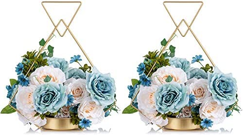 2 Pcs Wrought Iron Portable Hanging Gold Flower Vase for Party Home Decor Wedding Gifts Wedding product image