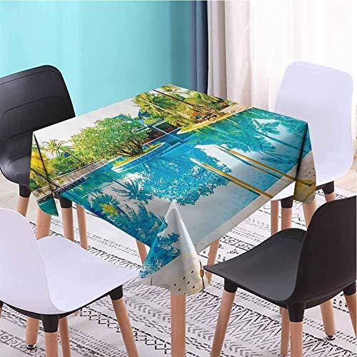 Hohun Casa Mantel Cuadrado Sombrilla Suave y Silla Alrededor de la Ronda Piscina al Aire Libre Espacio turistico Lugares Famosos Concepto Uso Diario Crema Azul Verde