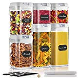ZWOOS Recipientes para Cereales Almacenamiento de Alimentos, 6 Unidades Alimentos Secos Cereales Caja Plástica con Tapa Hermética