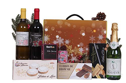 Estuche de Navidad B�SICO con vino, sidra, turrón, dulces y conservas