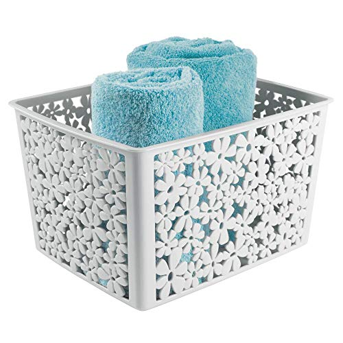 mDesign Plastic Bathroom Storage Basket Bin for Organizing Hand Soaps, Body Wash, Shampoos, Lotion, Conditioners, Hand Towels, Hair Accessories, Body Spray - Large, Floral Design - Light Gray