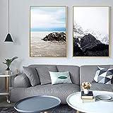 XCSMWJA Arte De Pared Póster Lienzo Paisaje Nórdico De La Playa De Mar Océano Impresión Pintura Decoración Escandinava Moderna Imagen Salón Decoración 50x70cm