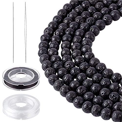 NBEADS 8 hebras Perlas de Lava Natural Juego de Agujas de Hilo, 8mm Cuentas de Piedra Natural Negras Redondas 10m/Rollo de Hilo de Abalorios para Joyería DIY Collar Pulsera Pendiente Fabricación