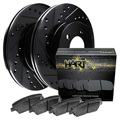 For 2010-2014 Ford F-150 Front Black Hart Brake Rotors+Ceramic Pads