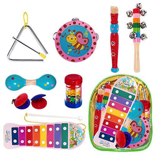 THE TWIDDLERS 10 Schlagwerk Musikinstrumente - Holz Percussion Rhythmus Xylophon Tamburin Flöte Mini-Band-Set Lern-Spielzeug Baby - Ideales Innenspielzeug für stundenlangen Spaß und Lernen für Kinder
