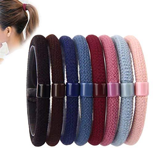 Ealicere 40 Stück 5mm Haargummis,elastische HaargummisPferdeschwanz Halter Haarband,für Dickes, schweres und lockiges Haar(8 Farben)