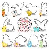 Moldes para galletas de Pascua, 10 unidades, de acero inoxidable, para Pascua, huevo, zanahoria, flor, pollito, conejo, cara de conejo y mariposa, para vacaciones de Pascua y accesorios de fiesta