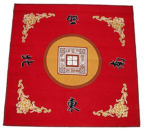 31.5' Table Cover - Slip Resistant Mahjong Game / Poker / Dominos / Card Tablecover Table Top Mat - Red