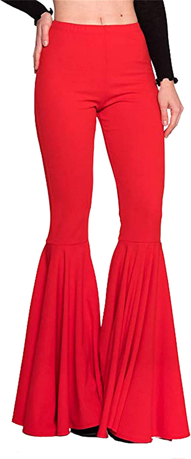 Women's Casual Pleated Flared Pants High Waist Ruffle Mermaid Bell Bottom Trousers Solid Color Flare Casualpants (Large,Red)