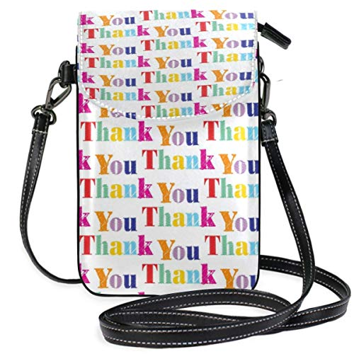 XCNGG Monedero pequeño para teléfono celular Thanks You Message Grateful Cell Phone Purse Wallet for Women Girl Small Crossbody Purse Bags