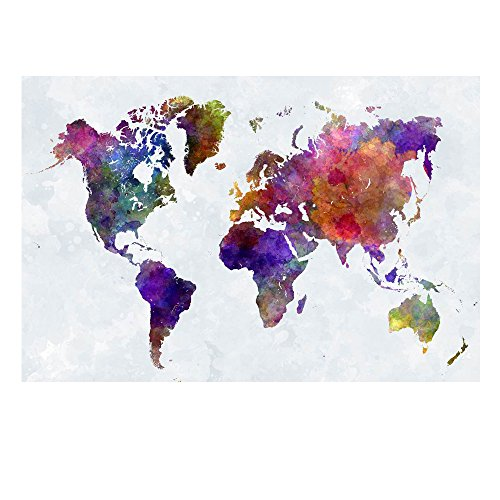 Wieco Art - Colorful Vintage World Map Large Modern Stretched and Framed Giclee Canvas Prints Artwork Abstract Landscape Pictures Paintings on Canvas Wall Art for Living Room Bedroom Home Decorations