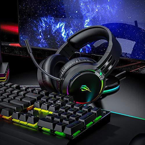 havit Headset für PS4, PS5, RGB Gaming Headset für PC, Xbox One, Laptop, Kopfhörer mit Mikrofon, mit Surround Sound 50MM Treiber und Mikrofon-Mute (H2010d)