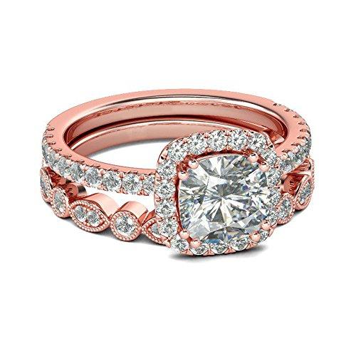 Moginp Valentinstag 2 in 1 Mode Dame Ring Kreativ Set Ring Zubehör Verlobungsring Finger Dekoration (Rotgold8)
