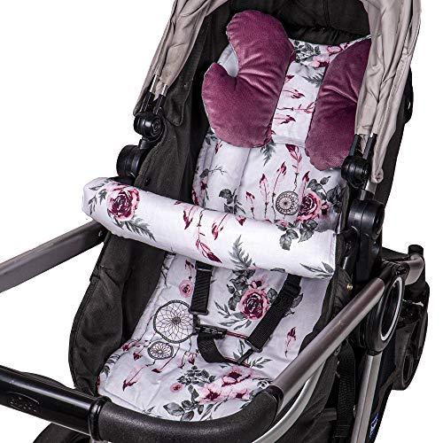 Cojín asiento cojín cochecito - cojín buggy cojín asiento para asiento infantil transpirable conjunto universal con protección cinturón reposacabezas 75x35 cm (Rosa - Atrapasueños)