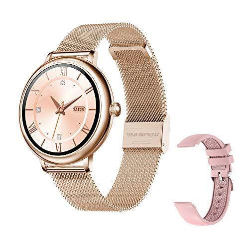 Fitonme Reloj Fitness Tracker - IP67 Impermeable Salud Seportes Smartwatch con Frecuencia Cardíaca, Presión Arterial, Sueño, Contador de Calorías, Podómetro, Recordatorio SMS iOS Android (Oro)