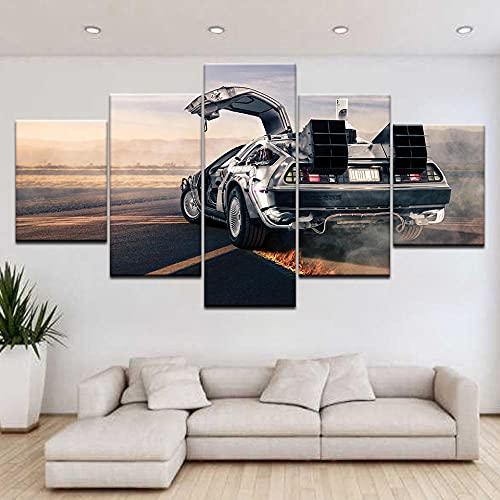 yuanjun Wanddekoration Design Wandbild 5 Teilig Premium Poster Stilvolles Set Mit Passenden Bilder Als Wohnzimmer Deko Bilderrahmen Leinwandbild Laufende Fliegende Autos Coole Wandplakate
