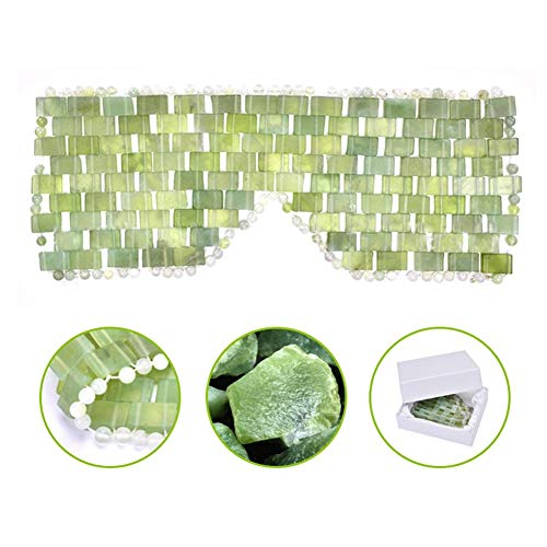 Natural Jade Sleep Mask, Cooling Eye Mask Blindfold Best for Hot or Cold Therapy - Help Reduce Puffy Eyes, Sinus, Headache, Migraine Relief
