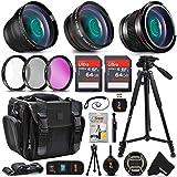 Professional Camera Accessories Kit for Canon Rebel T8i T7i T7 T6i T6S T6 T5i T5 SL3 SL2 EOS 90D 80D 77D 70D 60D EOS 9000D 8000D 4000D 2000D 800D 760D 750D 1300D 1200D DSLR Cameras + Accessory Bundle