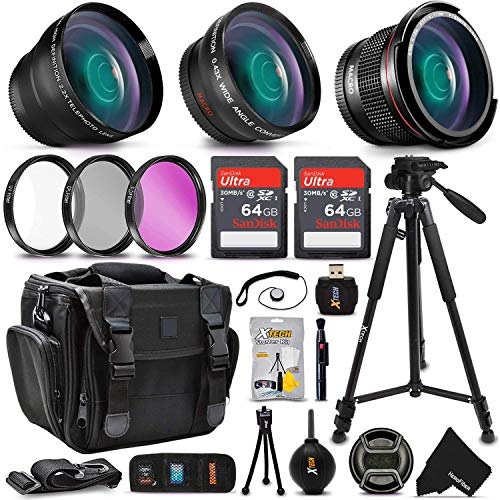 Professional Camera Accessories Kit for Canon Rebel T8i T7i T7 T6i T6S T6 T5i T5 SL3 SL2 EOS 90D 80D 77D 70D 60D EOS 9000D 8000D 4000D 2000D 800D 760D 750D 1300D 1200D DSLR Cameras + Accessory Bundle