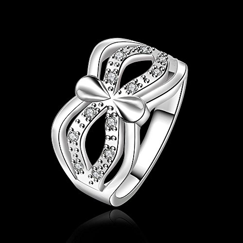 Zilveren masker met zirkonia ring, wit, 8
