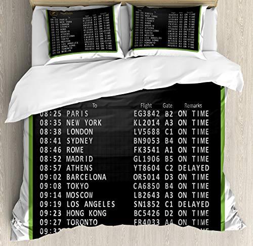 ABAKUHAUS Flughafen Bettwäsche Set für Doppelbetten, Flugliste Abfahrtstafel, Weicher Microfaserstoff Allegigeignet kein Verblassen, 230 x 220 cm, Weiß Koksgraue