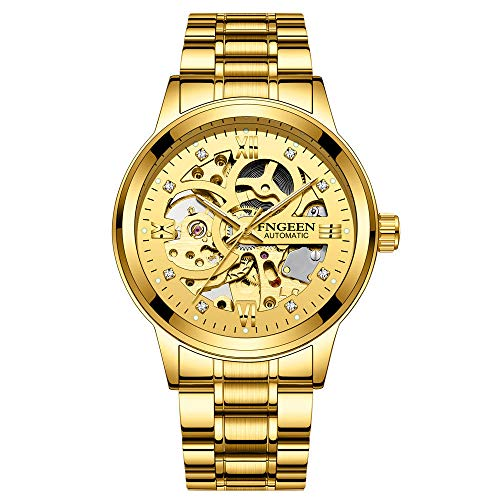 Relojes para Hombre Reloj de Pulsera mecánico de Pulsera de Cuero con Esfera de Acero Inoxidable analógico a Prueba de Agua a la Moda -B