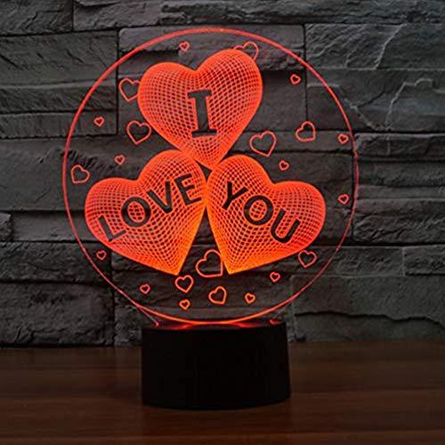 I Love You 3D Illusion - Lámpara de Mesa, Sweet Lover Heart, luz de Noche en 3D con Cambio de 7 Colores y Control Táctil Inteligente para el Día de San Valentín