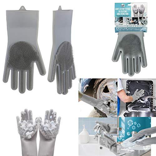 Homga Gants en Silicone, Magic Gloves Gants de Rinçage en Silicone Propres Réutilisables Gants pour Lave-Vaisselle, Gant en Caoutchouc pour la Maison, Lave-Auto, Résistant à la Chaleur