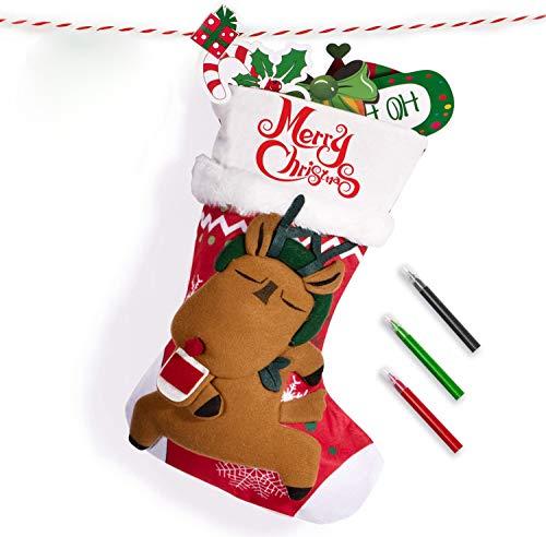 Joyjoz Nikolausstrumpf mit 3 farbigen Markierungen, 3D Handmade Personalisiert Large Weihnachtsstrumpf Nikolausstiefel Weihnachtsdekoration 53cm (Rentier)