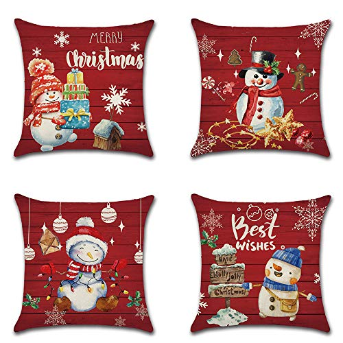 AFMNQZ 4 Pack Christmas Cotton Comfortable Decorative Throw Pillow Case Square Cushion Cover Pillowcase (Cover Only,No Insert) (Christmas Type-4)