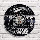 WWSC Reloj De Pared De Vinilo Relojes De La Guerra De Las Galaxias Decoración Retro De Regalo Retro Nostálgico De 12 Pulgadas para La Tienda En Casa Bar Reloj-Reloj Seguro Black