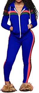 TOP-MAX Women's Sweatsuits, Velour Stripe Jogging Zipped Hoodie - Fashion Sport Suit, Hoodie and Pants Sports Tracksuits