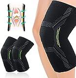 Rodillera para hombres y mujeres, 2 unidades, elásticas, transpirables, antideslizantes, perfecta para meniscus tear, artritis, tendinitis, running, squats, deportes (Medium)
