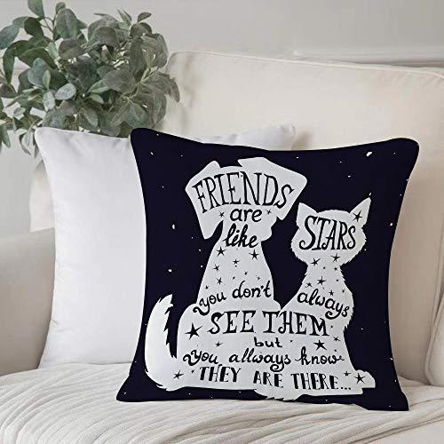 Kissenbezug Weich Bequem Polyester,Hund, Freunde sind wie Sterne Zitat mit Silhouette von Haustieren auf einem Raum un,Kissenhülle mit Verstecktem Reißverschluss Zierkissenbezug ohne Füllung 45x 45 cm