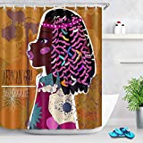 vrupi Cortina de Ducha de niña Negra Africana Traje de Tribal de Piel de Chocolate Negro Femenino afroamericano 71x71 Pulgadas Lavado de Tela Impermeable Que Incluye Doce Ganchos de plástico