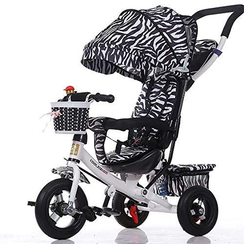 CAIMEI Triciclo plegable de 3 ruedas 4 en 1 plegable para 6 meses a 5 años, peso de 30 kg (color: rojo), blanco