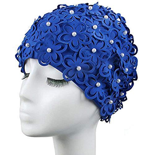 Medifier Gorro de natación para mujer, diseño de flores huecas, perlas cosidas a mano, color azul