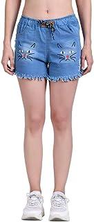 ROOLIUMS Women's/Girls Drawstring Denim Wash Printed Shorts for Women-Cat