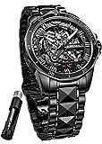 Reloj de pulsera de lujo automático con certificación suiza para hombre con esqueleto mecánico con cristales de zafiro de acero de tungsteno resistente al agua y luminoso para hombres regalos